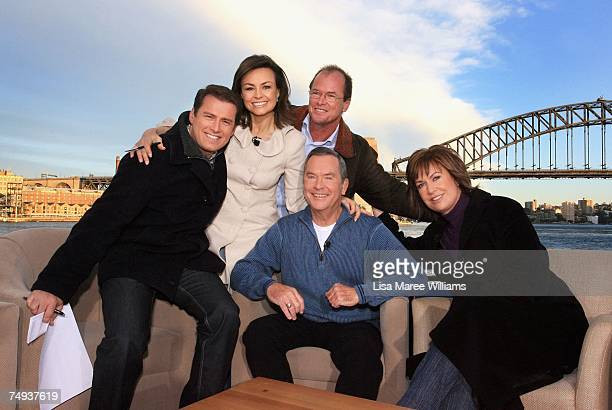 Past and present Today Show presenters Karl Stefanovic Lisa Wilkinson Monti Dwyer Ian Ross and Tracey Grimshaw pose for a photo after going live...
