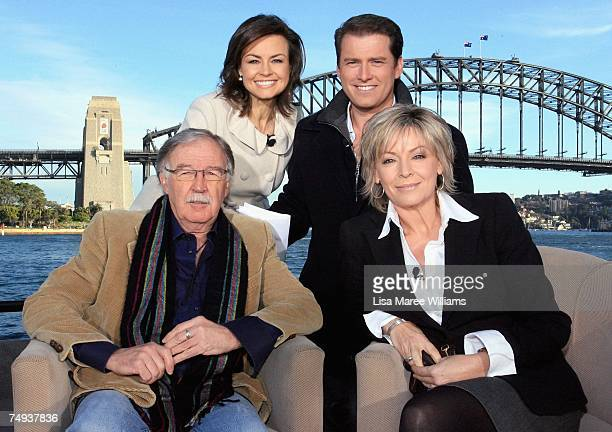 Past and Present Today Show presenters Lisa Wilkinson Karl Stefanovic George Negus and Liz Hayes pose for a photo after going live onair as part of...