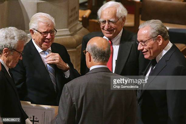 Past and present Washington Post journalists Bob Woodward Carl Bernstein Walter Pincus and others prepare for the funeral of former Washington Post...