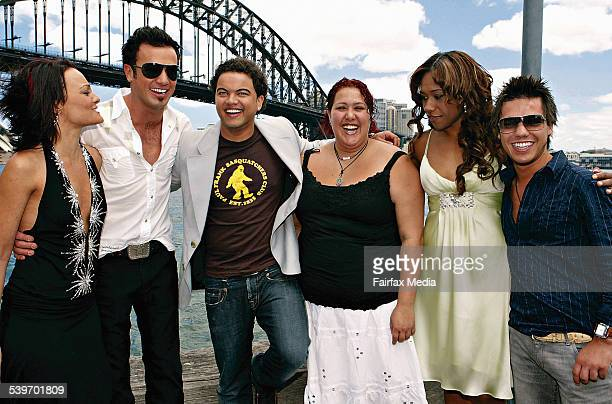 Past Australian Idol contestants from left Cosima DeVito Shannon Noll Guy Sebastian Casey Donovan Paulini and Anthony Callea at the Aria Number 1...
