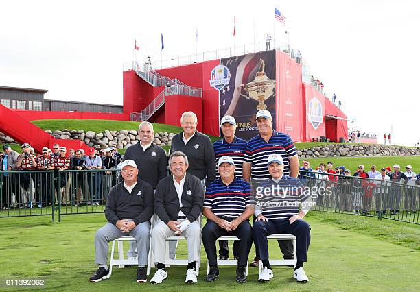 Past Captains Tony Jacklin Paul McGinley Colin Montgomerie and Ian Woosnam of Europe pose with Ben Crenshaw Dave Stockton Hal Sutton and Lanny...