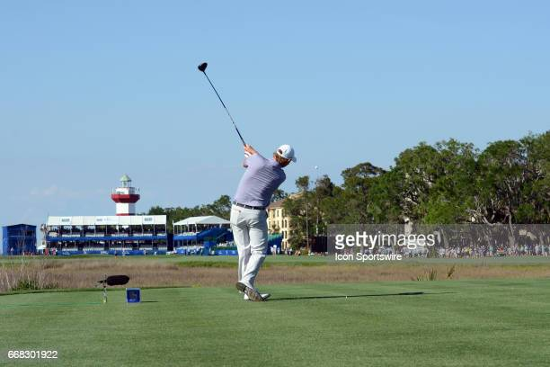 Past Champion Brandt Snedeker with a tee shot during the first round of the RBC Heritage PGA tournament on April 13 at Harbour Town Golf Links in...