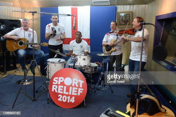 Past England football legends add their vocals and talents to the England World Cup video that will be shown on the Sport Relief Night of TV, BBC One...