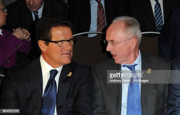 Past England managers Fabio Capello and Sven Goran Eriksson during the FA Anniversary Celebrations Launch at the Grand Connaught Rooms London