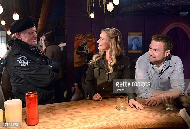 DEFIANCE Past is Prologue Episode 111 Pictured Barry Flatman as Colonel Marsh Julie Benz as Mayor Amanda Rosewater Grant Bowler as Chief Lawkeeper...