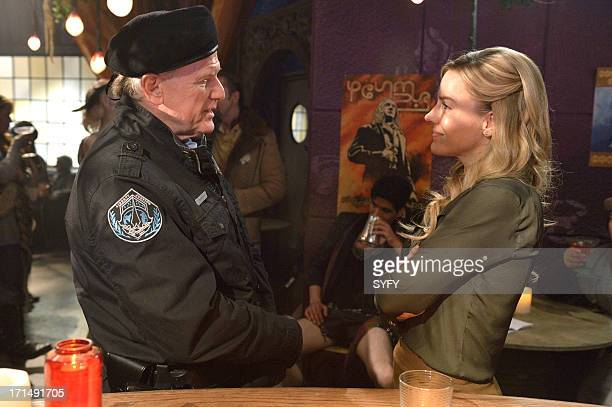 DEFIANCE Past is Prologue Episode 111 Pictured Barry Flatman as Colonel Marsh Julie Benz as Mayor Amanda Rosewater