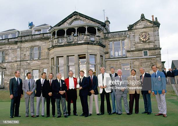 Past winners of the British Open Golf Championhip line up with the Club captain in front of the St Andrews Clubhouse in Scotland circa 1984 Left to...