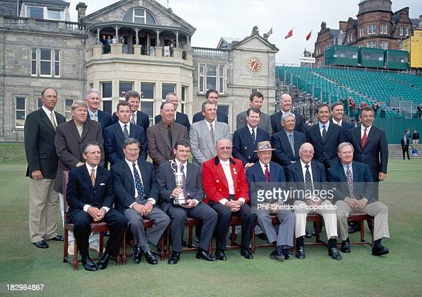 Past winners of the British Open Golf Championship in front of the Clubhouse at St Andrews circa 2000 Back row left to right Tom Lehman Bob Charles...