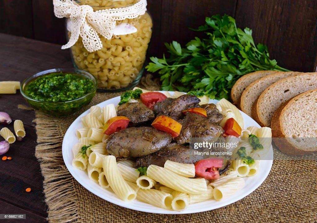 Pasta and fried goose liver (chicken, duck) : Stock Photo