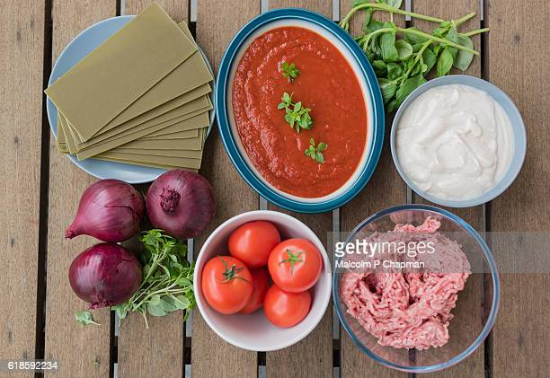 Pasta dish - Lasagne Verdi ingredients viewed from above