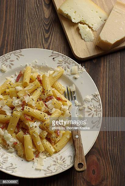 Pasta in plate with knife