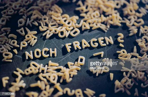 Pasta letters used to spell 'still ask' in German