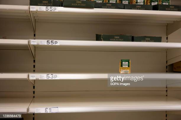 Pasta shelves seen almost empty in the supermarket following panic buying by the citizens in the fear of shortage. Panic buying continued in the...