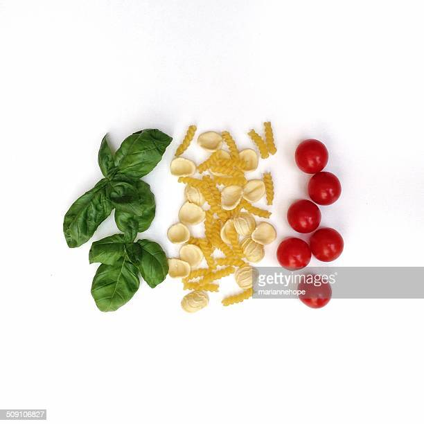 Pasta, tomatoes and basil