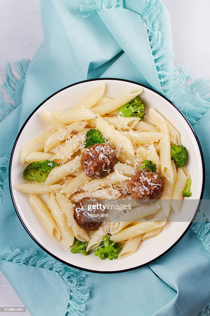 Pasta with Beef Sausage Meatballs and Broccoli : Stock Photo