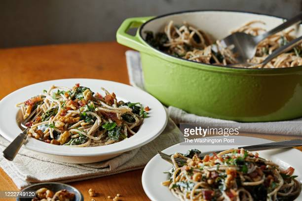 Pasta with Goat Cheese, Spinach and Walnuts photographed for Voraciously in Arlington, Virginia on June 23, 2020.