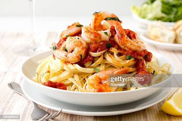 pasta with king prawns - seafood stock pictures, royalty-free photos & images