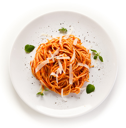 Pasta with meat and vegetables on white background 908165344