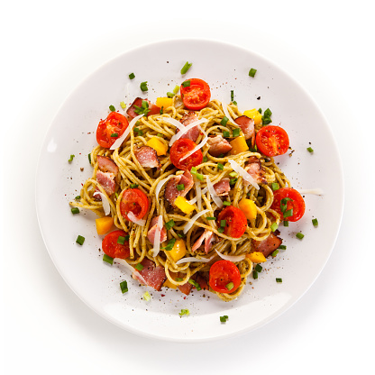 Pasta with meat, tomato sauce and vegetables 898095706
