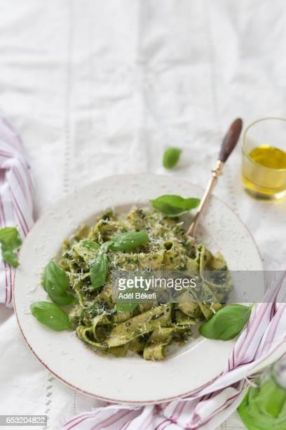 Pasta with pesto and parmesan