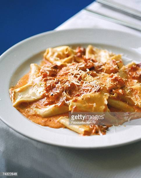 pasta with tomato and mascarpone sauce - mascarpone cheese stock pictures, royalty-free photos & images