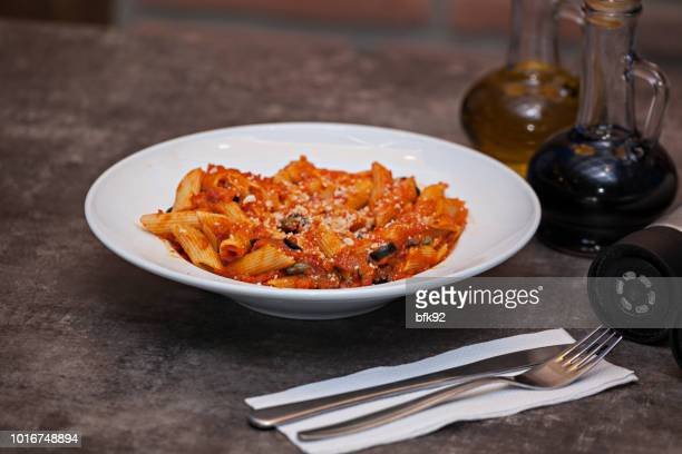 pasta with tomato sauce. - bolognese sauce stock pictures, royalty-free photos & images