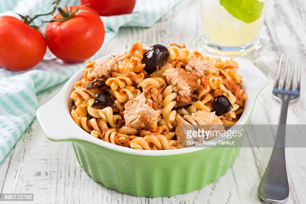 pasta with tuna fish - tuna stock photos and pictures