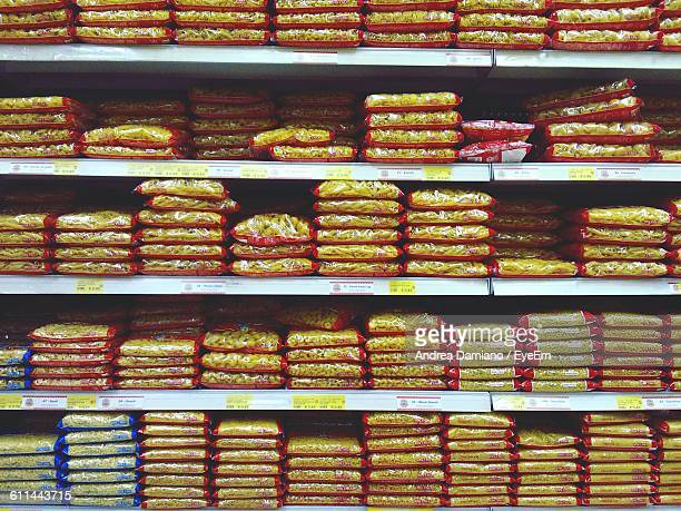 Pastas In Shelf At Supermarket