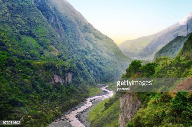pastaza river and valley in banos de agua santa - ecuador stock pictures, royalty-free photos & images