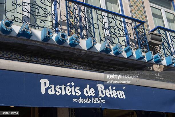 Pasteis de Belem bakery and store making Pastel de nata which is a Portuguese egg tart pastry in Lisbon the capital city of Portugal