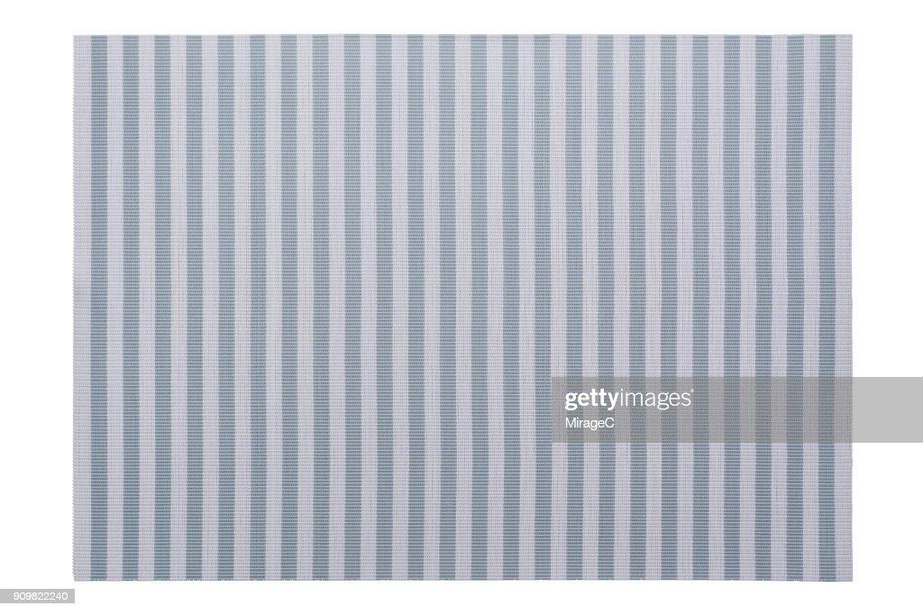 Pastel Blue Stripy Placemat on White : Stock Photo