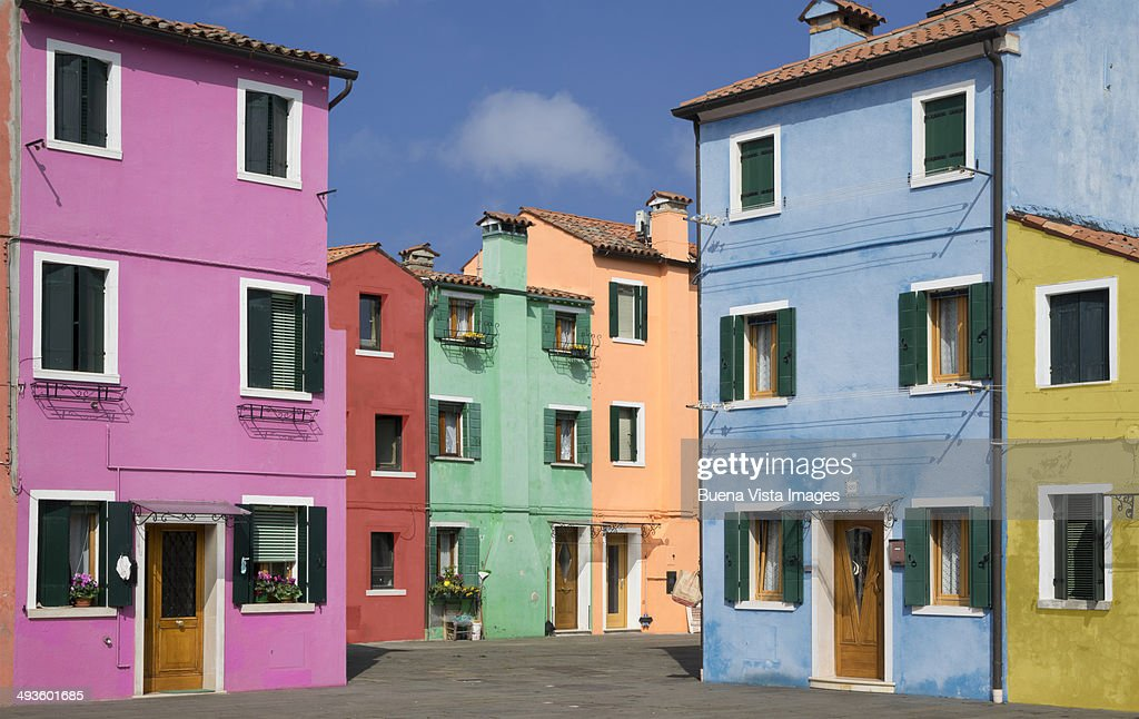 Pastel color houses over channel in Burano : Stock Photo