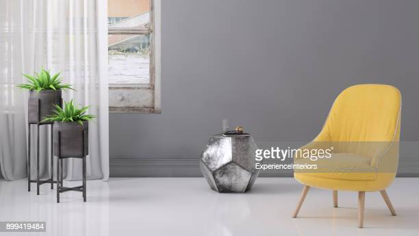 Pastel colored armchair with coffee table, window and blank wall template