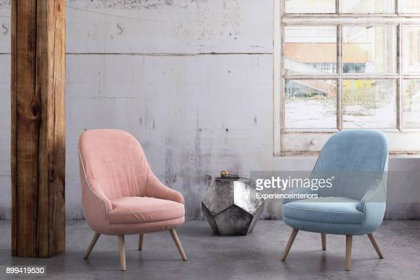 Pastel colored armchairs with coffee table, window and blank wall template
