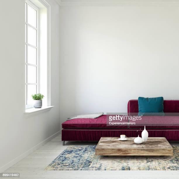 Pastell farbigen Sofa mit leeren Wand und Fenster Vorlage