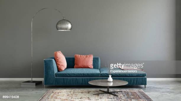Pastell farbigen Sofa mit leeren Wandschablone