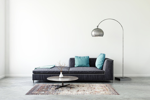 Pastel colored sofa with blank wall template - gettyimageskorea