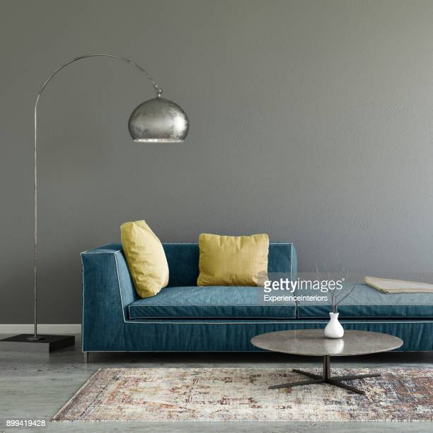 pastel colored sofa with blank wall template - design foto e immagini stock