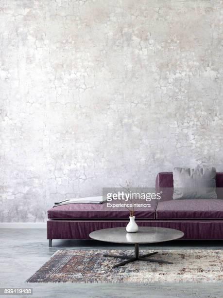 pastell farbigen sofa mit leeren wandschablone - eingangshalle gebäudeteil stock-fotos und bilder