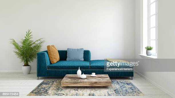 pastel colored sofa with blank wall template - camera da letto foto e immagini stock