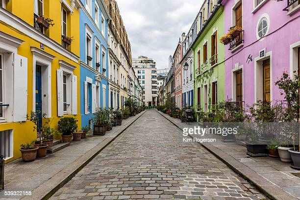 Pastel coloured homes on Rue Cremieux of Paris, France
