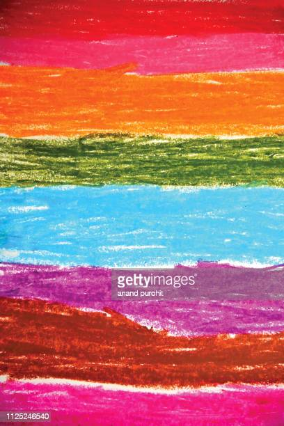pastel crayon painted colour strokes on paper - クレヨン ストックフォトと画像