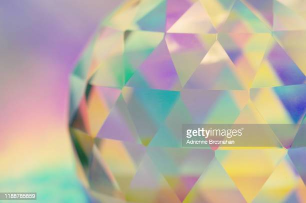 pastel crystal polyhedron - photo mosaic stock pictures, royalty-free photos & images