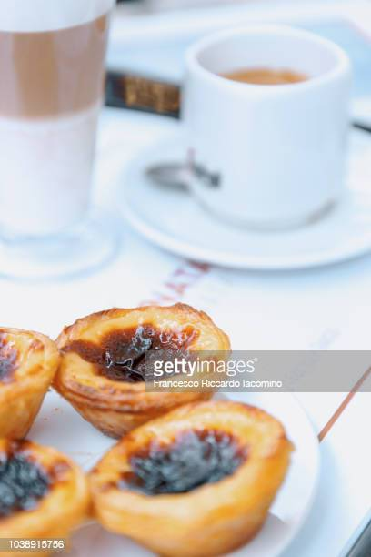 Pastel De Nata close up with coffee, Lisbon, Portugal
