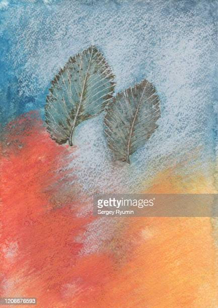 pastel drawing background with a skeletons of leaves - mixed media stock pictures, royalty-free photos & images