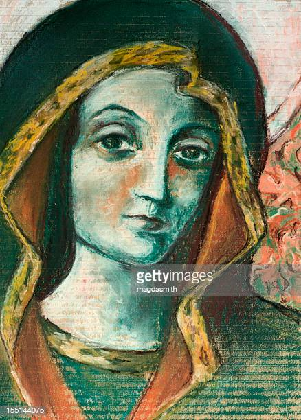 pastel drawing of virgin mary - magdasmith stock pictures, royalty-free photos & images