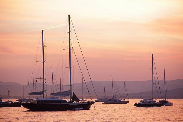 Pastel Dusk Sky And Yachts Wall Art