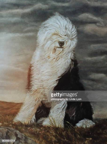 Pastel painting of Old English Sheepdog