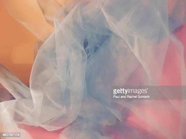 pastel pink and yellow with undulating blue - チュール生地 ストックフォトと画像