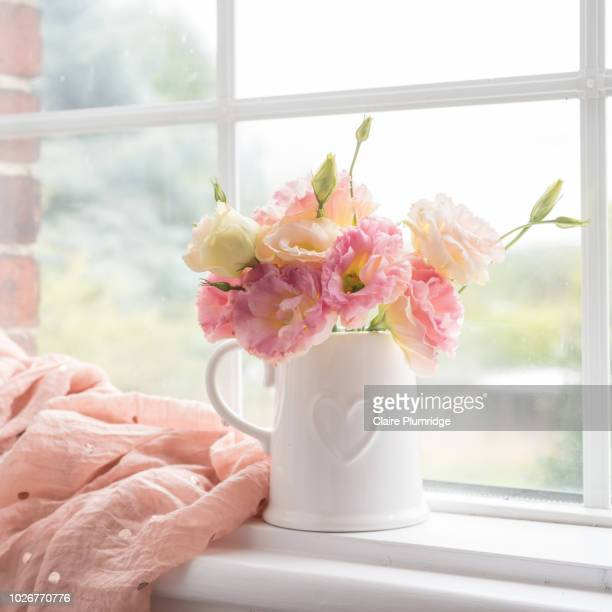 pastel - pretty pastel coloured lisianthus flowers, in a china vase on a window ledge. next to a pink muslin scarf. - couleur corail photos et images de collection